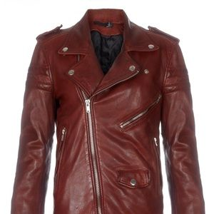 BLK DNM Leather Jacket 8 Crimson Red, SzS, Tags!